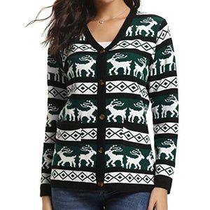 Sweaters - Women's Ugly Christmas Green Sweater Cardigan